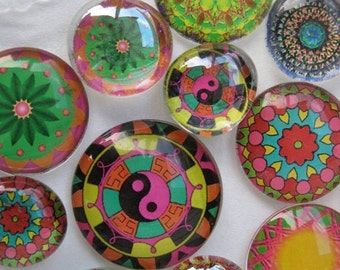 "ON SALE Dozen Mandalas Glass Fridge Magnet Set (12) Twelve magnets mandalas in three sizes S(1/2 ""),M(1""),L(1.2"")"
