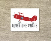 Vintage Airplane, Printable Wall Art, Adventure, Flight, Boy's Room Decor, Airplane Decor- File Download