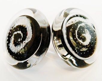 Handblown glass doorknob pair,black with white spiral, mounts on brass or stainless base