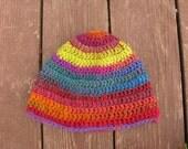 Rainbow swirl crocheted winter hat