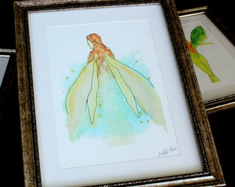 Faerie Art Print, Giclee print from Watercolor painting by Erin Kelly Price