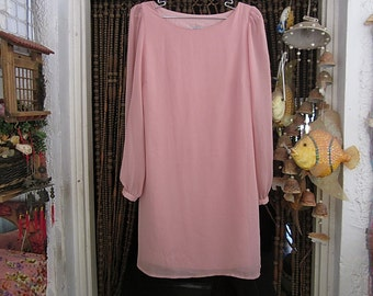 Designer's Powder-Rose Delicate 2 Layers Dress with Long Sleeves and Buttoned Cuffs, Vintage - Small to Medium