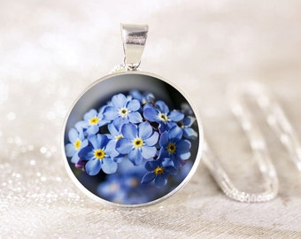 Silver Forget-Me-Not Necklace - Sterling Silver Flower Necklace, Real Silver Floral Jewelry, Sterling Silver Forget Me Not Jewelry Pendant