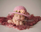 RTS Millinery Inspired Newborn Brim Hat-Felted Newborn Bowler Hat-Vintage Inspired Newborn Hat-Organic Newborn Photography Props-Infant Prop