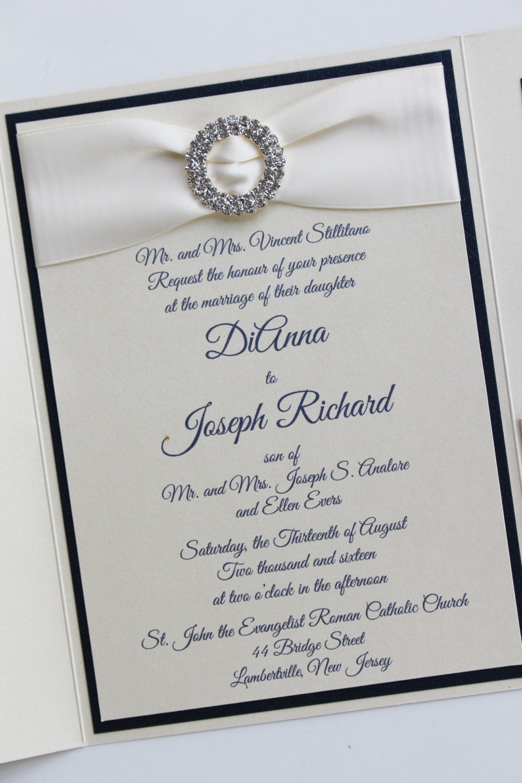 Ivory and Navy Metallic Himalaya Pocketfold Wedding Invitation with ...