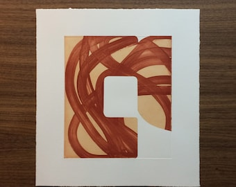 "CIJ SALE  - 50% OFF. use code { CIJSALE50} Original Etching . Rust Colored Art: ""Swatch 12"". Print Size 10.5"" x 11.5"""". unframed"