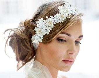 Wedding lace halo. Lace hair vine wrap. Bohemian wedding hair accessory. Wedding hair crown. Wedding hair vine.  Wedding headband ribbon.