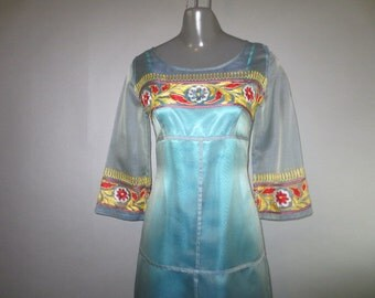 """Silk Dress / Iridecent Sheer With Attached Under Slip // Embroidery Sleeves and Bodice...28"""" waist"""