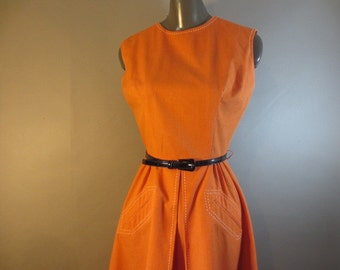 "1970's Sleeveless Orange Dress // Front Box Pleat // Stitched Detailing on Skirt // Back Zipper...26"" waist"