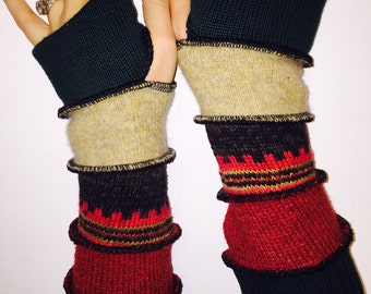 Brown sage rust cashmere fingerless gloves upcycled arm warmers Hope Floats Upcycled