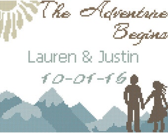 Moutains Wedding Cross Stitch Pattern/Adventure Wedding Cross Stitch Pattern/The Adventure Begins/Wedding Cross Stitch/Modern Cross Stitch