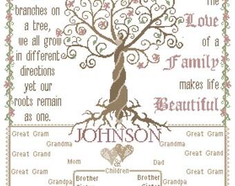 Modern Family Tree Cross Stitch Pattern