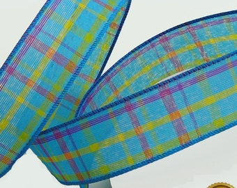 Ruban à carreaux, printemps ruban, fil ruban profilées, bleu violet, bordé de ruban, ruban d'emballage, ruban à carreaux, ruban de 1,5 pouces