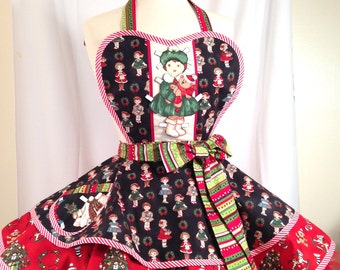 Retro Apron / Christmas Paper Doll Apron, 50's Pin Up Apron/Holiday Arpon/Ready To Ship