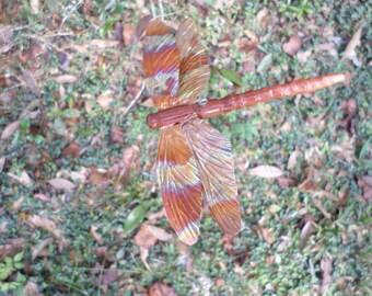 dragonfly ornament wood cedar and copper  house garden decor  no07