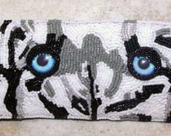 The Tiger's Eyes bead embroidered cuff bracelet