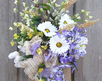 Spring Wreath, Easter Wreath, Floral Wall Bouquet, Country French Wreath, Designer Wreath, Cottage Wall Basket