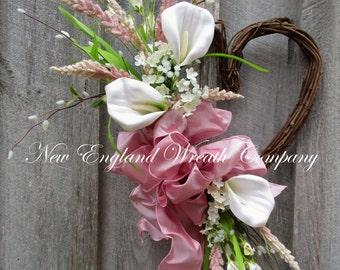 Spring Wreath, Summer Wreath, Heart Wreath, Elegant Wreath, Country French Wreath, Wedding Wreath, Calla Lily Wreath, Designer Wreath