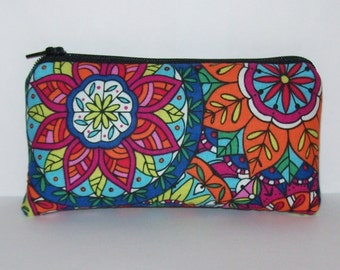 """Pipe Pouch, Colorful Mandala, Pipe Case, Pipe Bag, Padded Pipe Pouch, Hippie Purse, Cute Pouch, Hippy, 420, Padded Zipper Bag - 5.5"""" SMALL"""