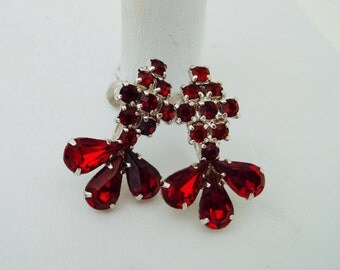 Ruby Red Rhinestone Earrings Screw Back Prong Set