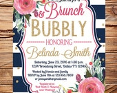 Brunch and Bubbly bridal shower invitation, Bridal shower invitation brunch, watercolor pink flowers,gold, pink peonies, navy stripes, 5369