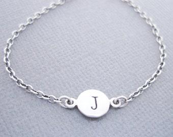 Silver J Charm Bracelet, Silver Initial J Bracelet, Initial J Charm Bracelet, Personalized Bracelet