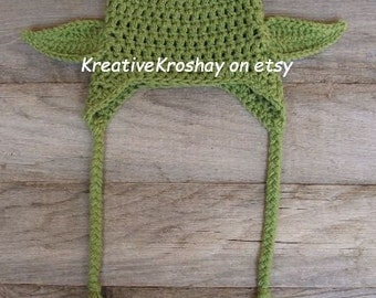 """Chunky Yoda  Hat """"Star Wars Inspired"""" / Hat w/Earflaps - GREAT for Star Wars fans (0-3 / 3-6 / 6-12 month sizes)"""