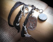 Howling Wolf and Moon Pendant Necklace and Wrap Bracelet
