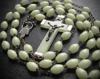 Vintage Glow in the Dark Rosary Necklace
