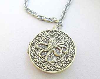 Brass Octopus Locket Necklace Extra long, Hippie, indie Boho