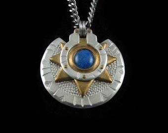 Handmade Silver and Brass Lapis Lazuli Medallion