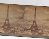 Eiffel Tower Stereoview during Paris Exposition of 1900