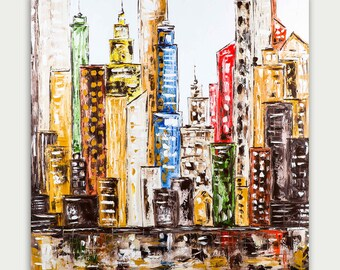 Original Colorful  Painting, City Skyline, Abstract & Modern Painting, Art On Canvas, Home Decor