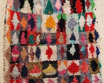 "boucherouite FREE SHIPPING worlwide T25539  150x135 CM (4'11"" X 4' 5""), boucharouette,  moroccan rugs , berber rugs, morocco carpets"