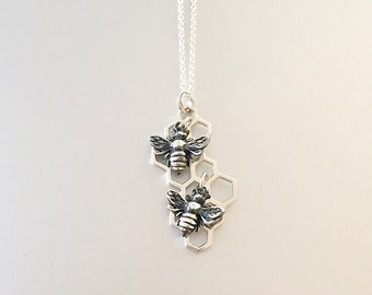 Honeycomb and 2 Bee Necklace