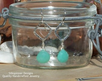 Sterling Silver Square and Pistachio Chalcedony Drop Earrings
