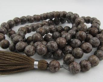 Mala - 8mm brown snowflake jasper 108 beads buddhist mala - hippie necklace - wrap bracelet - yoga jewelry