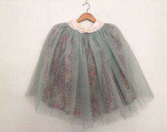 Tutu Sample Sale - Sage Green Tulle Skirt with Vintage Sage Floral Lining. Sweet and Whimsical S