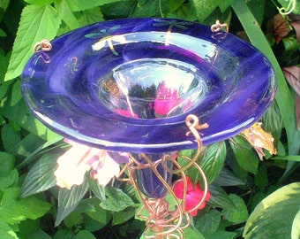 Dragonflies, HUMMINGBIRD FEEDER, stained glass, copper, garden stake, Smoky Violet, Iridescent, Lawn Ornament