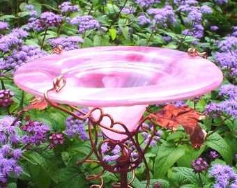 THANK YOU gift, Garden Butterfly Feeder, stained glass and copper, Pink, garden art, outdoor