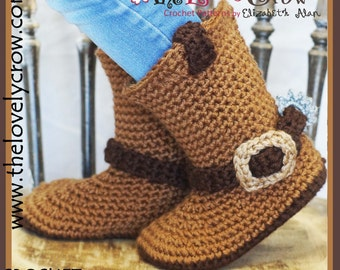 Crochet Pattern Cowboy Boots YOUTH Sizes