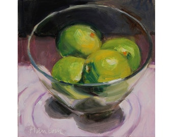 Glass Bowl of Limes on Pink