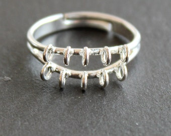 Beaded Ring Finding with Loops - Silver Plated - Adjustable - DIY Supplies - Jewelry Making - (1 Ring)