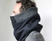 Wool cowl scarf, mens scarf, winter scarves men, Snock® in high quality navy wool with new ribbed top