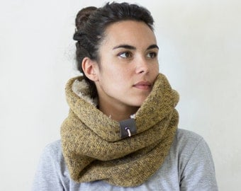 extra warm cowl scarf, mens womens scarf, Snock® in mottled thick wool with soft and warm faux lamb lining