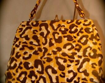 Vintage Purse Leopard Print Cloth 1960s 1970s Handbag Animal Print Retro