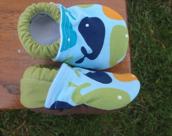 Baby Boy Shoes w/ Whales - Blue, Green and Orange - Custom Sizes 0-3 3-6 6-12 12-18 18-24 months 2T 3T 4T
