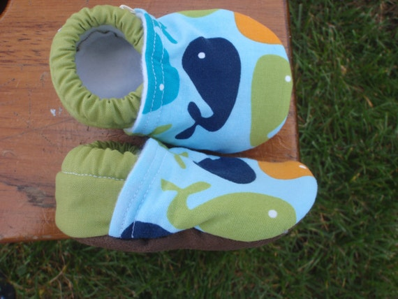 Baby Boy Shoes w/ Whales - Blue, Green and Orange - Custom Sizes 0-3 3-6 6-12 12-18 18-24 months