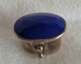 Sterling Silver Lapis Taxco Lidded Pill Box