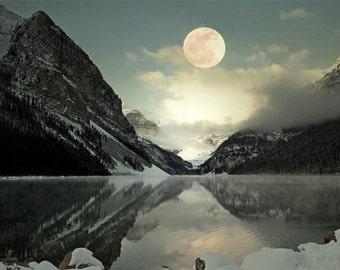 Lake Louise Full Moon 12x18 Photography Print Fine Art Banff Canadian Rockies Wilderness Snow Mountain Winter Landscape Photography Print.